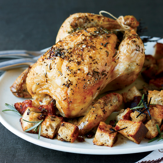 Brined Roast Chicken with Olive Bread Panzanella