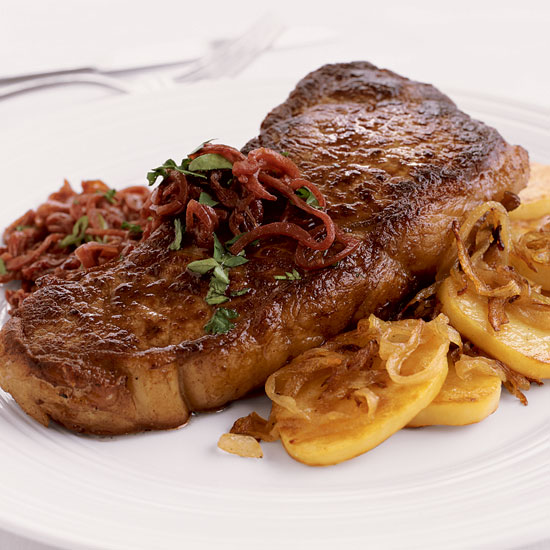Steak with Shallots and Lyonnaise Potatoes