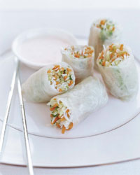 Daikon-Papaya Summer Rolls with Minted Yogurt Sauce